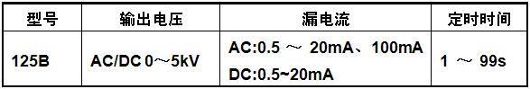 耐压测试仪规格参数